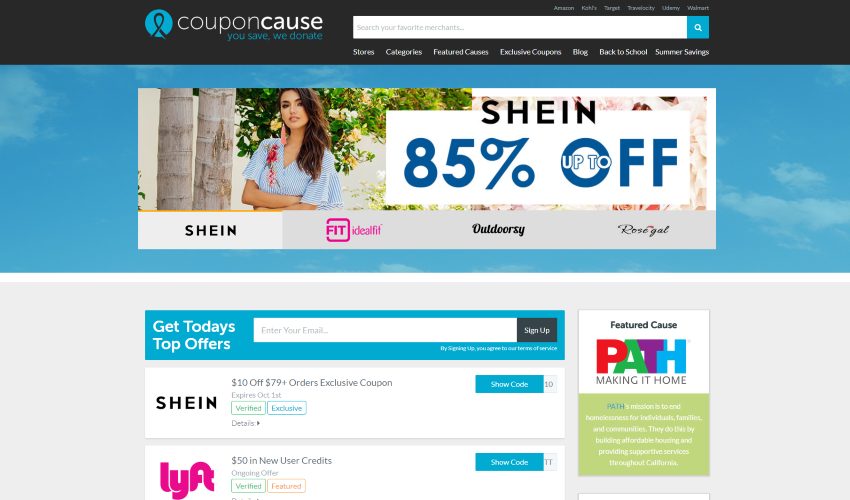 Webpage screenshot example of coupon cause banner ad offering 85% off shein products