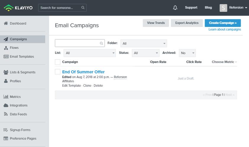 Webpage screenshot example Klaviyo dashboard campaigns end of summer offer integrations end of summer