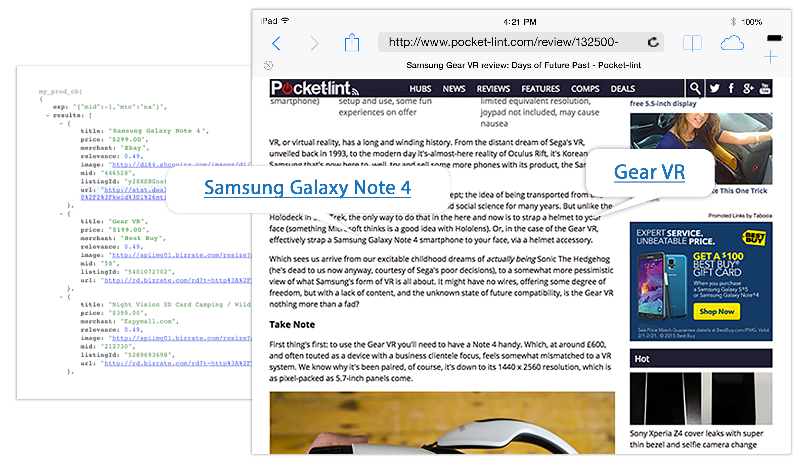 Webpage screenshot of ipad browser pocketlint smartphone review showing Viglink and coding links to Galaxy Note 4